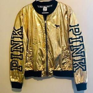 Rare Gold Metallic Pink Bomber Jacket